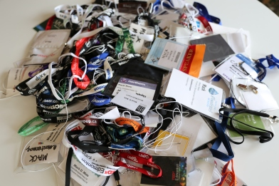 Photo of of a pile of lanyards.